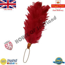 "Glengarry Cap Feather Plume Hackle Red 6"" Balmoral Hats Scottish Head wear"
