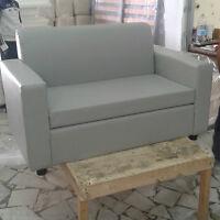 Divano due 2 posti Divanetto grigio tessuto ecopelle sofà poltrona relax sedia