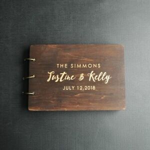 Personalized Guest Book For Wedding Rustic Wood Custom Engraved Album Gifts New