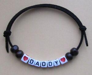DADDY BEADED FRIENDSHIP BRACELET ON BLACK SUEDE CORD