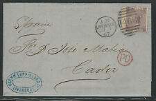 Great Britain 1867, Scott #45 on Cover, Liverpool to Cadiz, Spain, 6 Markings
