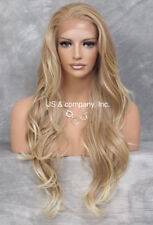 """Human Hair Blend Full Lace Front Wig long Beach Wavy Blonde Mix 25.5"""" ws 27/613"""