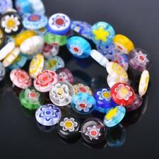 40pcs 12mm Oblate Coin Colorful Millefiori Glass Loose Spacer DIY Craft Beads
