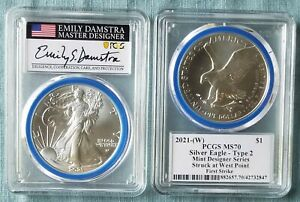 2021 $1 American Eagle T-2 PCGS MS70 FIRST STRIKE EMILY DAMSTRA SIGNED (In Hand)