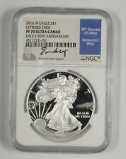 PF70 UCAM 2016-W American Silver Eagle - Lett. Edge Moy Signed - Graded NGC *936