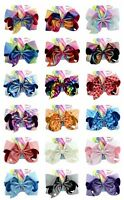 8inch Girls Kids JOJO SIWA Laser Hair Bow With Alligator Clip Rainbow Bowknot DY