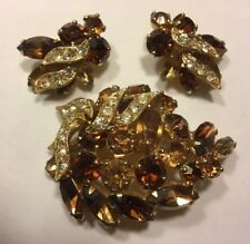 Vintage Designer Weiss Amber Brown Rhinestone Autumn Fall Pin Earring Set
