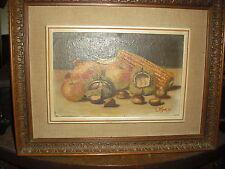 Quadro dipinto olio su tavoletta Natura morta firma L. MAZZA
