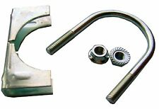 """1 Set of 2"""" Zinc Plated U-Bolt, Saddle, Flanged Nuts - Two Inch Antenna Mounting"""