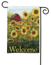"SUNFLOWER FARM Red Country Barn WELCOME Message 12.5"" x 18"" Small Banner Flag"