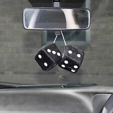 Car Black & White Soft Spotty Furry Fluffy Hanging Mirror Dice Set Of 2