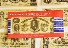 American Civil War Confederate Replica Currency Money Parchment Banknotes Set A