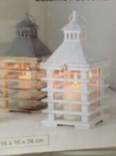 Neu Laterne Windlicht Weiß Metalldach Holz / Glas 34 cm Landhaus Shabby