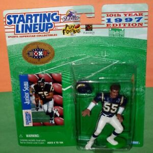 1997 JUNIOR SEAU San Diego Chargers FREE s/h Super Bowl NM+ Starting Lineup