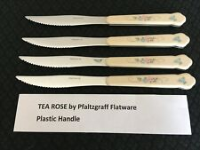 Lot of 4 Pfaltzgraff Tea Rose Stainless Steel Steak Knives / Knife Free Ship