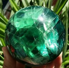 "2.95""1.57lb Natural Green  Fluorite Quartz Crystal Sphere Ball Healing China"