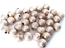 100 pcs Spacer Glitter Beads Round Brass 6mm Bead Jewelry Making Rose Gold 62G