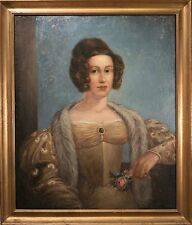 "Outstanding Antique Female Portrait Oil Painting, ""Yellow Dress with Fur"" 1700's"