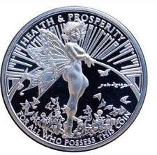 "1 OZ 999 SILVER ""GRACE THE FAIRY"" PROOF ROUND COIN TOM GRINDBERG NUDE ART SLAB"