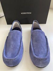 New Mens Nordstrom Designer Suede Leather Moccasin Slippers Shoes Blue Size L