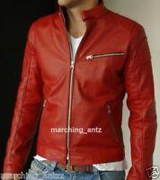 New Men Red Lamb Leather Jacket Black Motorcycle Biker Casual Size S M L XL RSJ