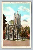 Lansing, St. Mary's Catholic Church, Bell Tower, Vintage Michigan c1930 Postcard