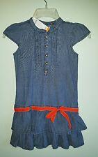NWT Gymboree Girls SZ 7 Chambray PREP PERFECT Ruffle Dress DROP WAIST Cap Sleeve