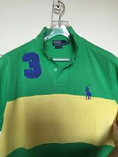 maglia polo uomo POLO RALPH LAUREN verde e gialla tg. XL custom fit big pony blu