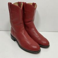 Justin Kids Leather Cowboy Western Boots Red Youth Size 4.5 D Style 3035Y