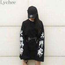 Harajuku Punk Gothic Women Streetwear Cutting Edge Science Letter Print Pullover