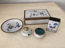 Lot Antique Vtg Chinese Cloisonné Enamel Box Plate Salt Pepper Set China