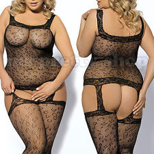 Plus Size 14+ Mesh Fishnet Leopard Pattern Garter Suspender Bodystocking