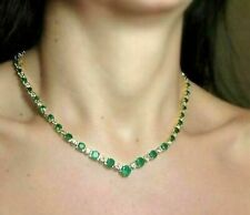 14k Yellow Gold Over Stunning 22.00ct Round Cut Emerald & Diamond Necklace