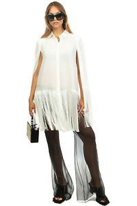 RRP €1465 BALMAIN Silk Crepe Trousers Size 38 / M See Through Made in France