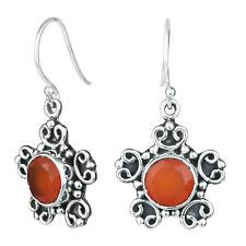 925 Sterling Silver Carnelian hanging Earrings fine Jewelry 4.89 g handmade