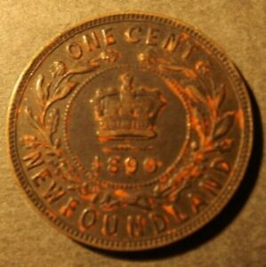 CANADA NEWFOUNDLAND 1 CENT COIN DATED 1890 H.VICTORIA. ONLY 200,000 MINTED NICE