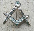 Silver Square and Compass Mason with stones lapel pin Order of Eastern Star