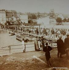 WW1 Stereoview - French Army Troops Crossing the River Marne by Pontoon Bridge