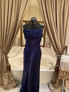 VTG NWT Dave + Johnny Formal Dress Sz 12P (11/12 Prom Evening Gown NAVY SHIMMER
