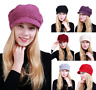 Women Snow Winter Warm Slouchy Cable Knit Beanie Hat with Visor Xmas Gift