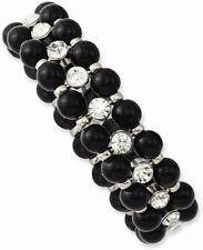 & Clear Glass Stones Stretch Bracelet 1928 Jewelry - Silver-tone Black Beads