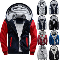 Men Winter Hooded Coat Thick Fleece Fur Outwear Hoodie Jacket Sweatshirt Warm