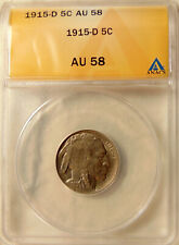 1915-D Buffalo Nickel - ANACS AU58 - Pretty Choice AU+ Coin - FREE SHIPPING