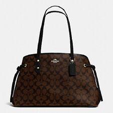 NWT Coach F57842 Signature Drawstring Carryall Shoulder Bag in Brown/Black