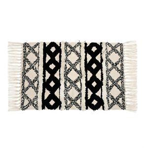 Sass & Belle Monochrome Scandi Boho Cotton White Tassel Rug Geometric Design