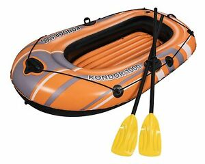 Bestway Inflatable 1 or 2 Person Explorer Pro Dingy Rubber Boat Air Pump Paddles