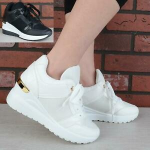 WOMENS LADIES LACE UP WEDGE PLATFORM TRAINERS PUMPS CLASSIC SNEAKERS SHOES SIZE