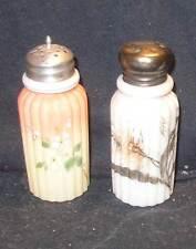 Nice set of 2 Mt Mount Washington Ribbed Pillar salt or pepper shakers, painted