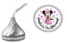 MINNIE MOUSE #2 PERSONALIZED HERSHEY KISS LABELS STICKERS BIRTHDAY PARTY FAVORS