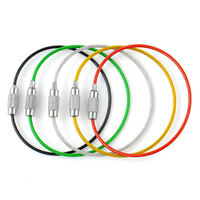 5PCS Fashion Outdoor Camping Hiking Stainless Steel Wire Keychain KeyRing Chain